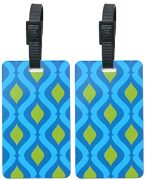 ORB Travel-PT204-Helix-Blue/Green- 2-Pack Luggage Name Tags ID Label Set of 2 Tags Business Card Suitcase Label