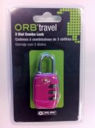 ORB Travel TSA Approved 3 Dial combination Lock One Size Hot Pink